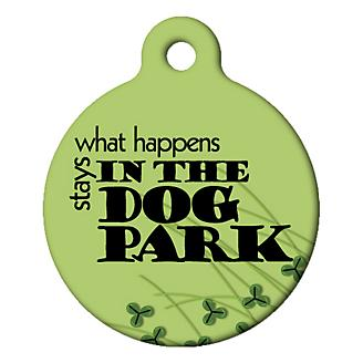 What Happens in the Dog Park Pet ID Tag