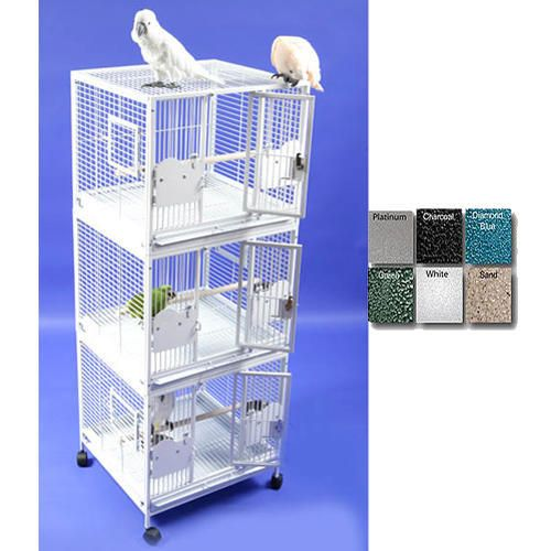 A and E Medium Triple Stack Bird Cage Platinum