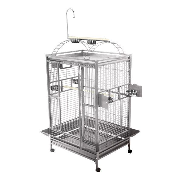 A and E Stainless Steel Playtop Bird Cage 29 Inch