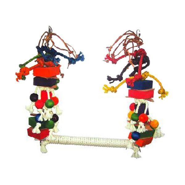 Happy Beaks Rope Bird Swing With Blocks Medium