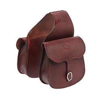 Tough-1 Leather Basket Tooled Saddlebag