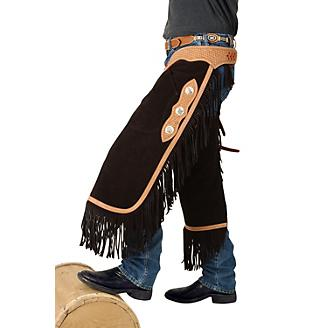 Tough-1 Suede Leather Silver Concho Chinks