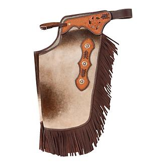 Tough-1 Hair On Leather Silver Concho Chinks