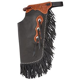 Tough-1 Leather Floral Tooled Cowboy Chinks