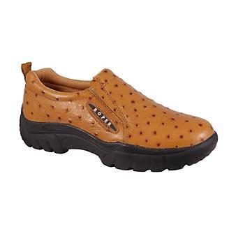 Roper Mens Faux Ostrich Slip On Shoe