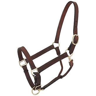 Tough1 Leather Adj Stable Halter w/Snap