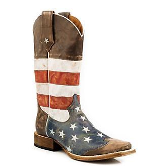 Roper Mens Square Toe American Flag Boot