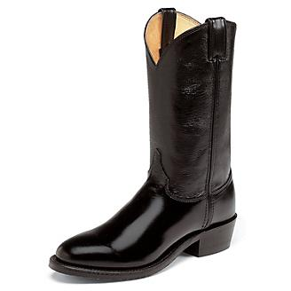 Justin Mens Round Toe 12in Blk Western Boot