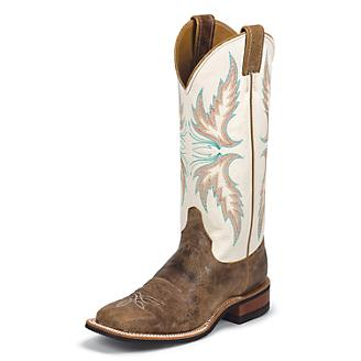 Justin Ladies Bent Rail 13in Ivory Boots