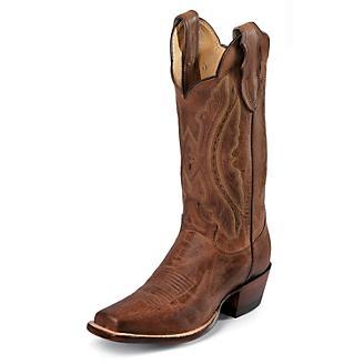 Justin Ladies Sq Toe 11in Tan Distressed Boot