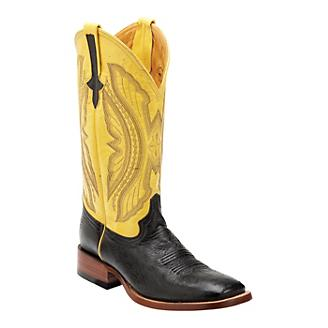 db68b48df54 Ferrini Mens Smooth Ostrich Sq Yellow Boots