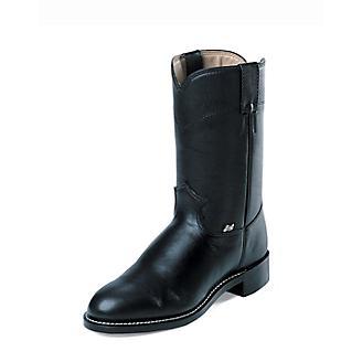Justin Mens Farm/Ranch Roper Black Cow Boot