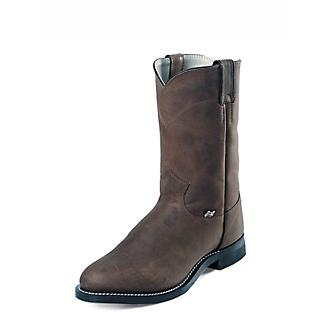 Justin Mens Farm/Ranch Roper Brown Cow Boot