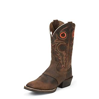ce7a732e05d Justin Mens Silver Punchy Sq Whiskey Boots 6D - Statelinetack.com