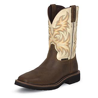 Justin Mens Stampede Steel White Work Boots