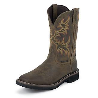 Justin Mens Steel Toe Wtrprf Tan Work Boots
