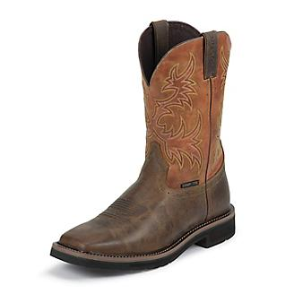 Justin Mens Stampede Comp Orange Work Boots