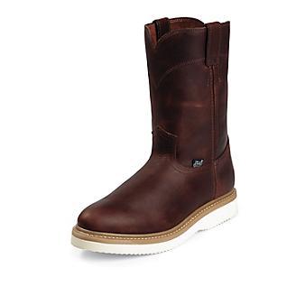 Justin Mens Premium Wedge Rnd Tan Work Boot