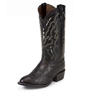 Tony Lama Mens Rnd Blk Smooth Ostrich Boots