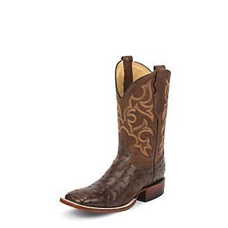 Justin Mens FQ Ostrich Tobacco Brown Boots