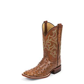 Justin Mens FQ Ostrich Cognac Waxy Boots