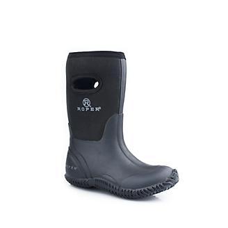 Roper Kids Rubber Black Barn Boots