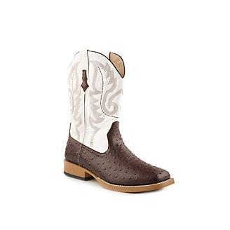 60555299513 Roper Mens Sq 11in Faux Ostrich White Boots