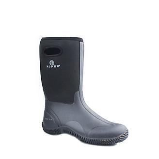 Roper Mens Rubber Black Barn Boots