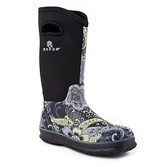 Roper Ladies Rubber Navy Printed Barn Boots