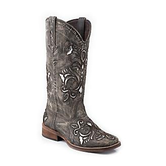 b626f26e1a6 Roper Ladies Square Toe Metallic Silver Boots 5 - Statelinetack.com