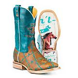 Tin Haul Ladies Barbd Wire Square Toe Boots