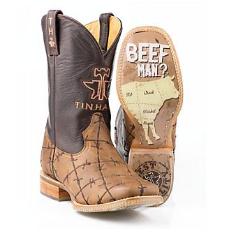 Tin Haul Mens Dont Fence Me In Sq Toe Boots