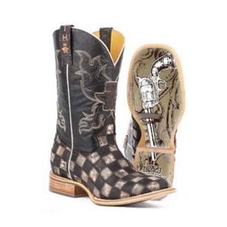 5881b3e41d7 Tin Haul Mens Gunmetal Check Square Toe Boots