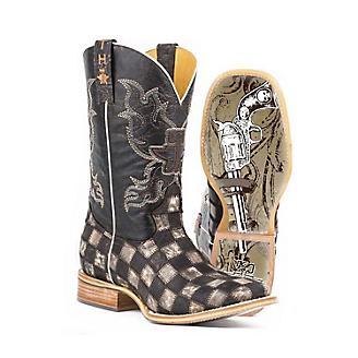 Tin Haul Mens Gunmetal Check Square Toe Boots