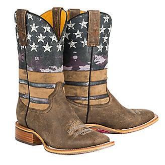 Tin Haul Ladies American Woman Sq Toe Boots