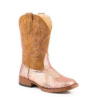 Roper Kids Glitz Square Toe Pink Gold Boots
