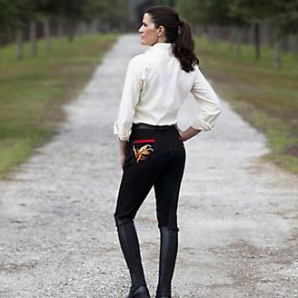 Huntley Ladies Black Knee Patch Riding Pant