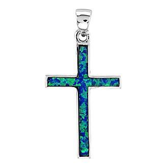 Kelly Herd Blue Opal Cross Pendant