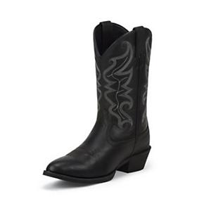 Justin Mens Stampede Narrow Toe Black Boots