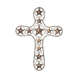 Decorative Cross w/ Stars & Barbwire