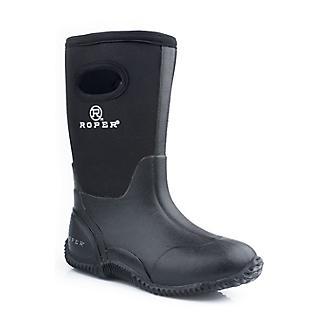Roper Big Kids Barnyard Black Rubber Boots