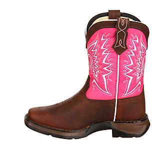 Lil Rebel Durango Kids Square Toe Pink Boots