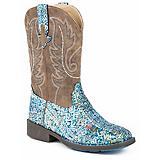 Roper Kids Glitter Aztec Round Toe Blue Boots