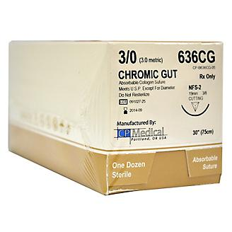Suture Disposable w/Needle 19mm 3/0 12/box