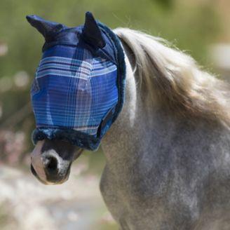 Kensington Pony Fly Mask Fleece Trim and Ears Blac - Horse com