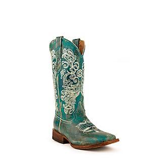 Ferrini Ladies Southern Charm Sq Turquoise Boots