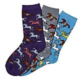 Southwestern Ponies Ladies Crew SOcks 3-Pack