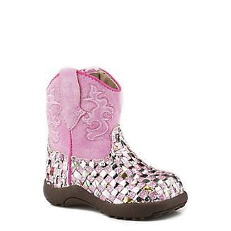 Roper Cowbabies Western Braid Pink Boots