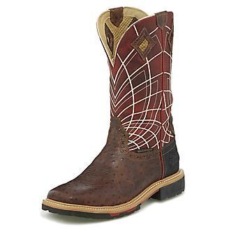 Justin Mens Derrickman Ostrich Square Boot