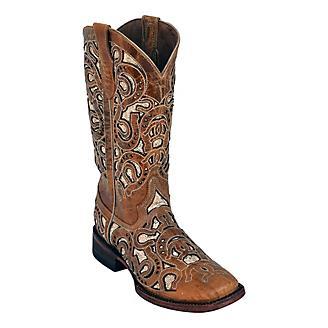 Ferrini Ladies Horseshoe Sq Toe Antique Boots